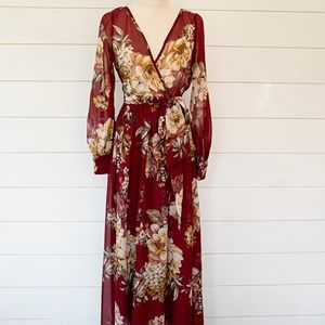 Long Burgundy Maxi Dress Full Flowing Skirt Wrap